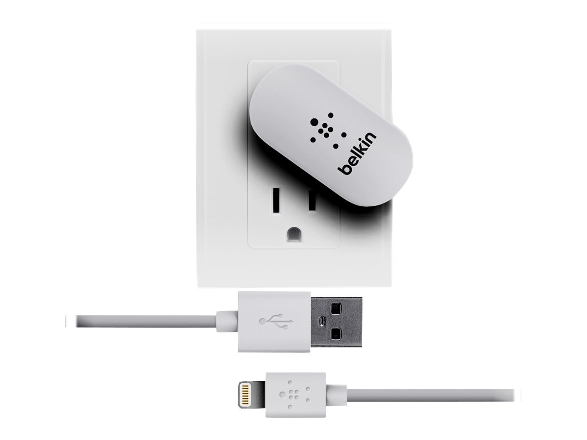 Belkin Swivel Charger + Lightning Charge Sync Cable 2.1A, White, F8J032TT04-WHT, 15230191, Battery Chargers