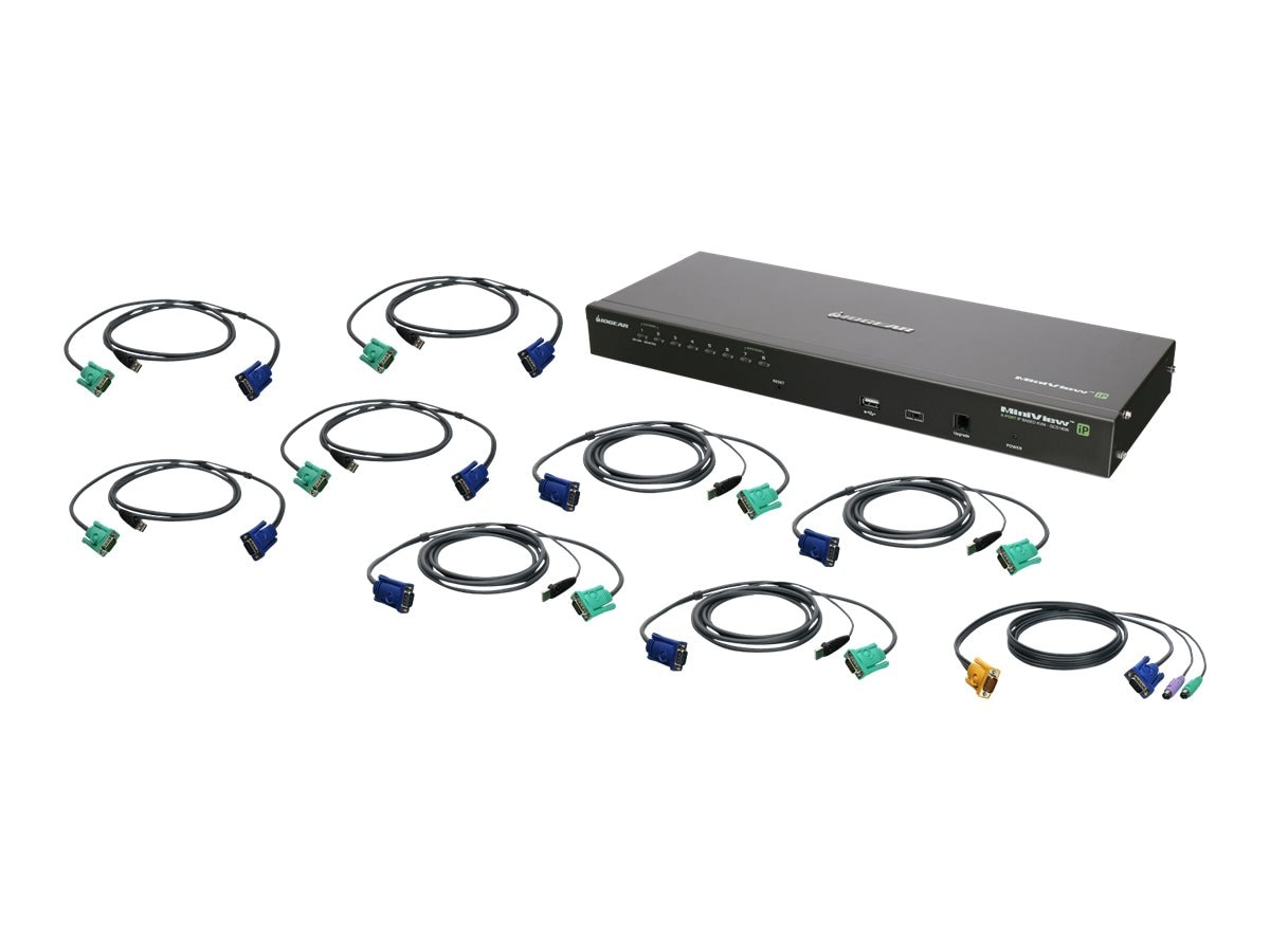 IOGEAR 8-Port IP Based KVM Kit, USB, TAA, GCS1808IKITUTAA, 22073542, KVM Switches