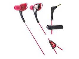 Audio-Technica Sport In Ear Headphone Waterproof Secure Fit Earpieces - Red, ATH-SPORT2RD, 33249873, Headsets (w/ microphone)