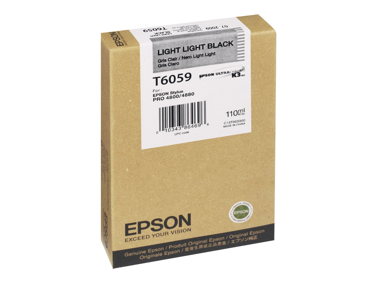 Epson Light Light Black UltraChrome K3 Ink Cartridge for Stylus Pro 4880 Series Printers- 110ml, T605900, 7995303, Ink Cartridges & Ink Refill Kits