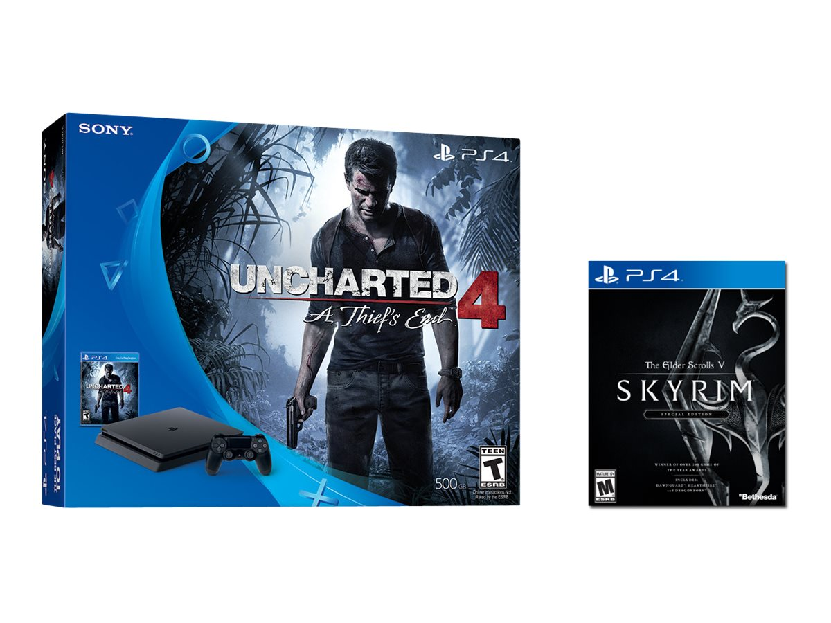 Sony PS4 500GB Console, Jet Black with Skyrim: The Elder Scrolls V, Uncharted 4