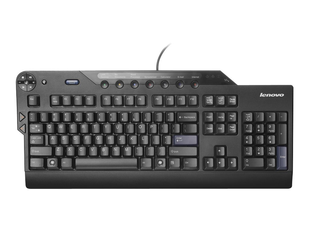 Lenovo Enhanced Performance USB Keyboard w  2-Port USB 2.0 Hub, Business Black, 73P2620
