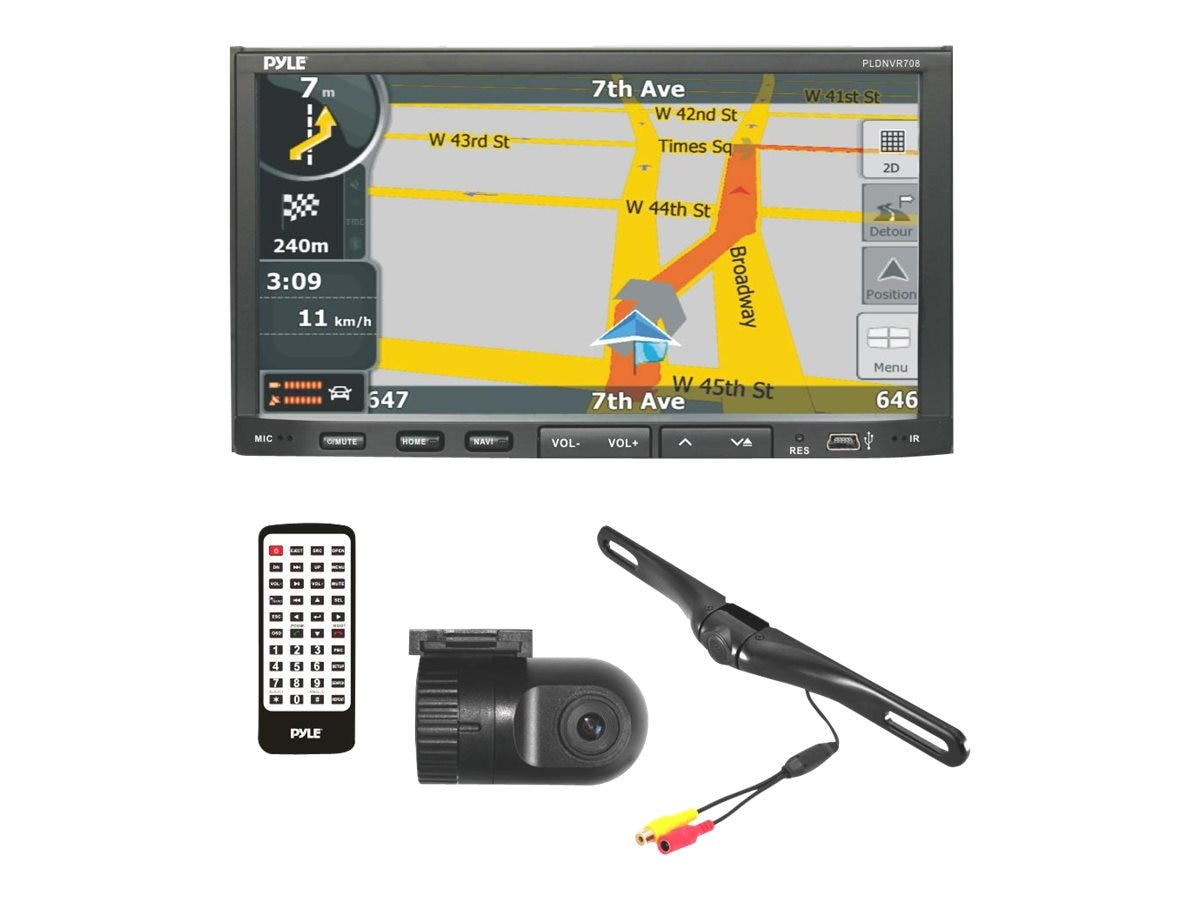 Pyle Doubl DIN Stereo Receiver Head Unit Radio Rearview Backup Dash Cam, PLDNVR708
