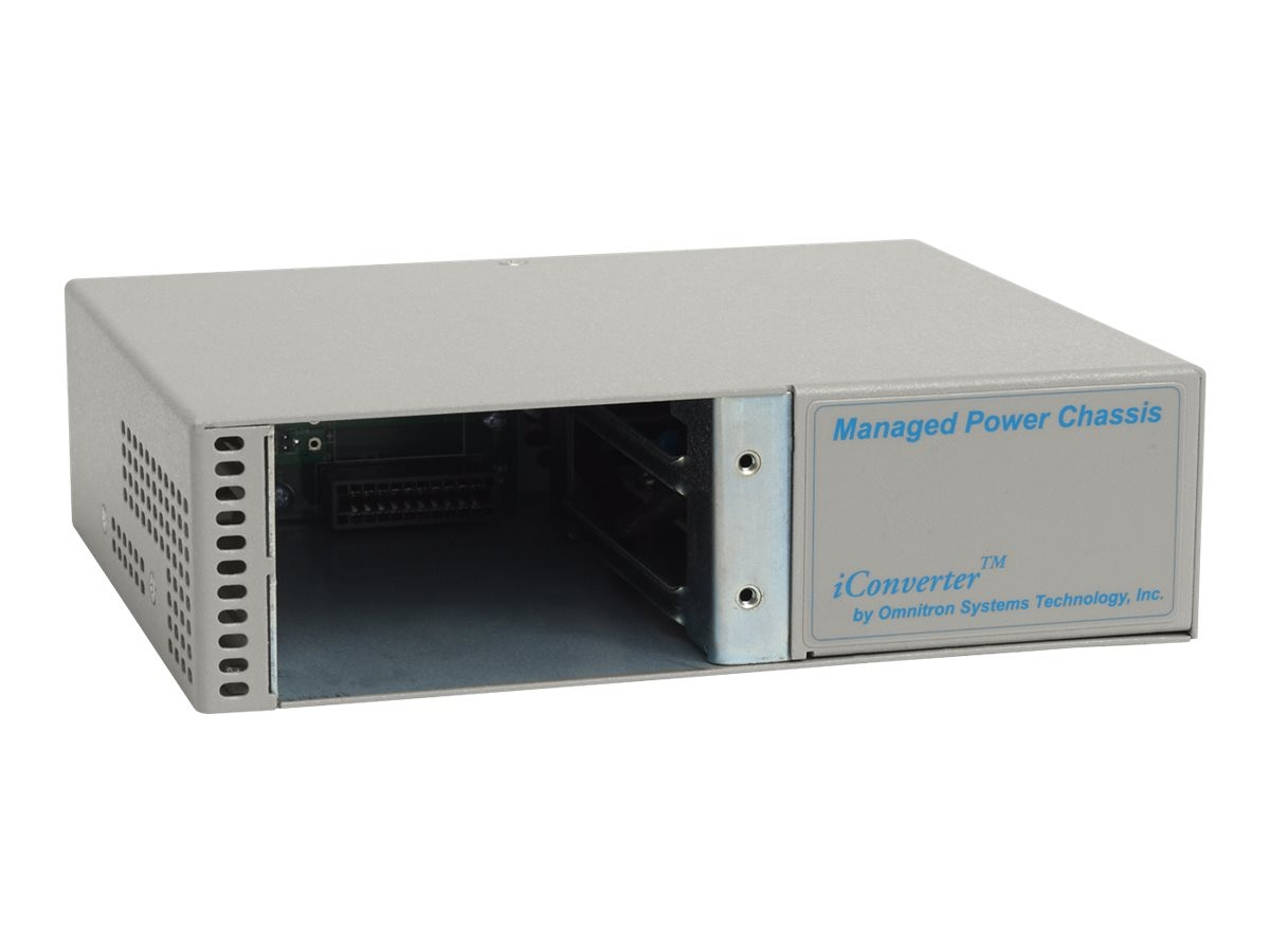 Omnitron IConverter AC Chassis w  Dying Gasp 40 To 60C 2 Module, 8230-1-W, 9663345, Network Transceivers
