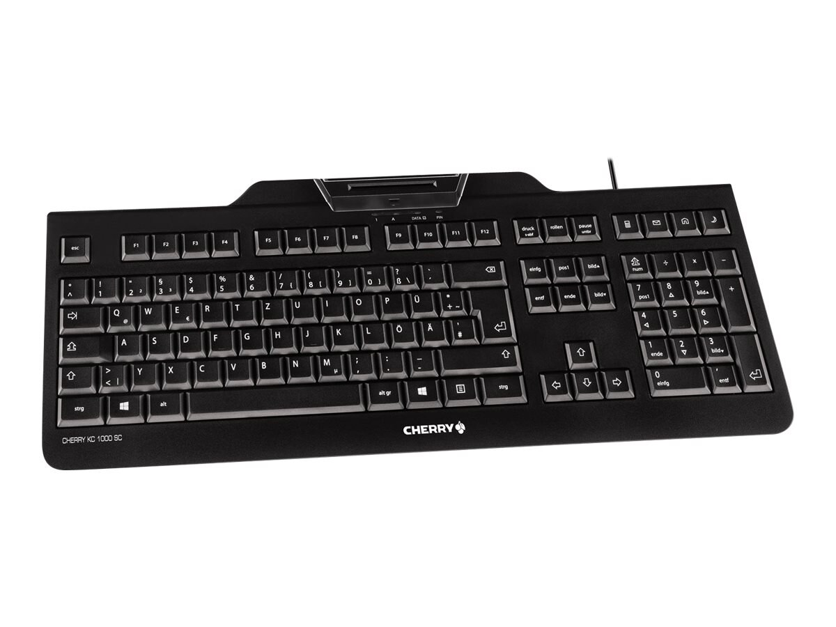 Cherry USB Keyboard w  High Performance PCSC EMV Smart Card Reader, Black, JK-A0100EU-2