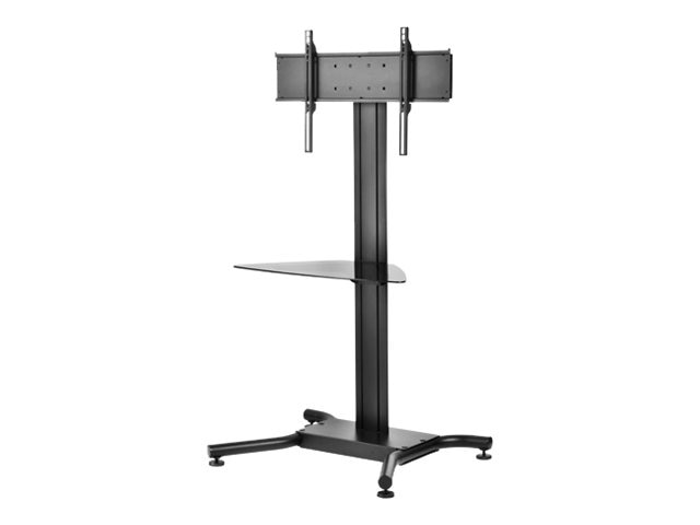 Peerless SmartMount Flat Panel Floor Stand with Glass Shelf for 32-75 Displays, Black, SS560G, 13225381, Stands & Mounts - AV