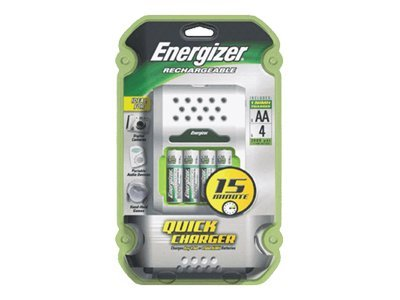 Energizer 15-Minute Battery Charger with (4) NiMH AA Batteries, CH15MNCP4, 5567233, Battery Chargers