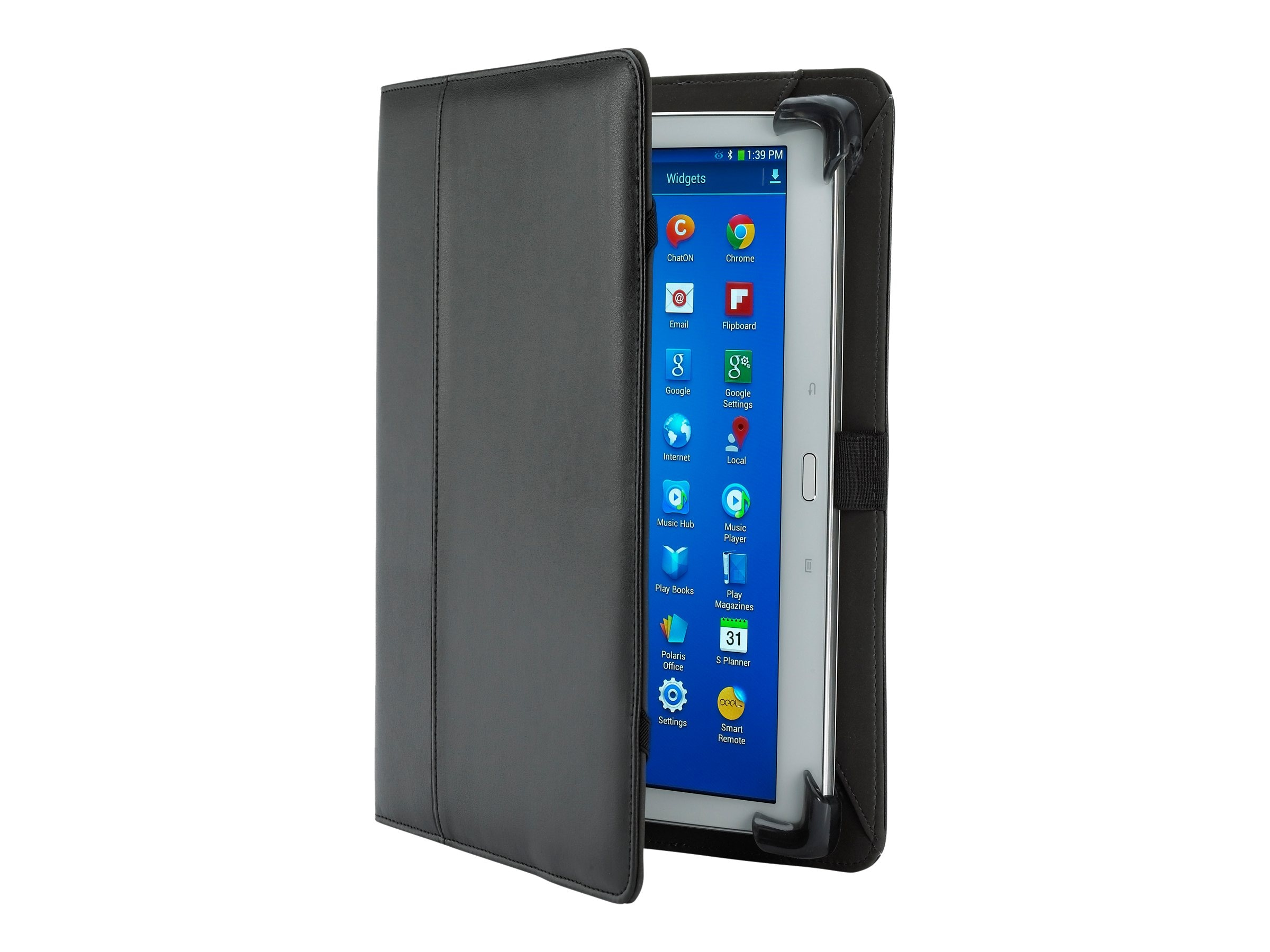 Cyber Acoustics Koskin Leather Cover w  Protective Corner Bumper System for 9 to 10 Tablets, Black, UC-7650