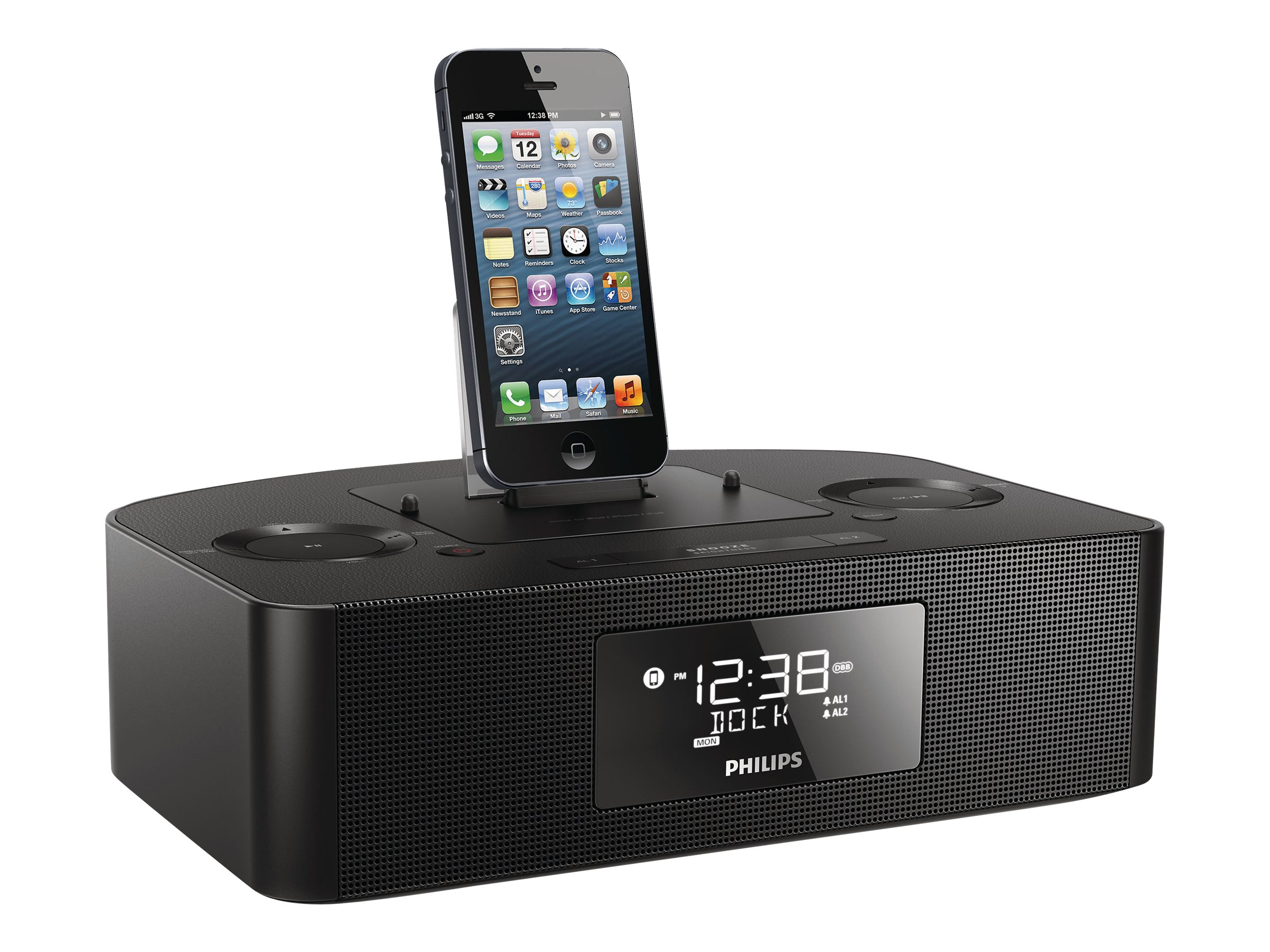 Philips Lightning FM Dual Alarm USB Clock Radio Dock - 8W, AJ7050D/37, 16923336, Clock Radios