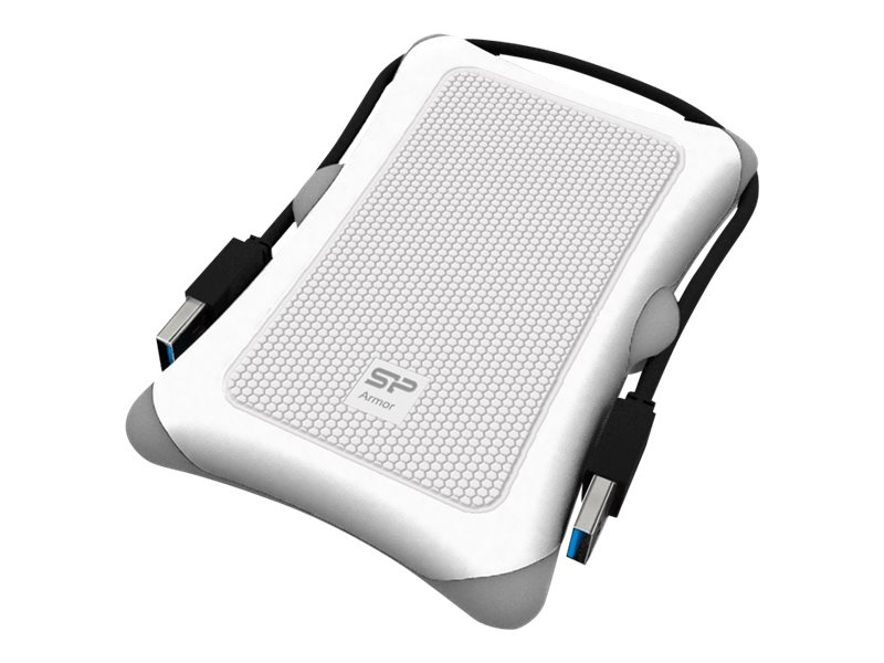 Silicon Power 1TB Rugged Armor A30 Shockproof USB 3.0 2.5 Portable Hard Drive - White