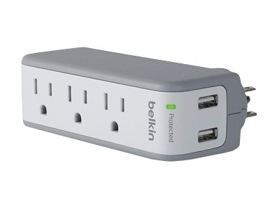 Belkin 3-Outlet 2.1 Amp Mini Surge Protector w  (2) USB Ports, BST300FCDP, 30674671, Surge Suppressors
