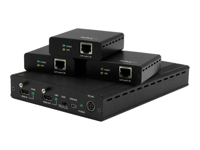StarTech.com 3-Port HDMI over CAT5 HDBaseT 4K Extender Kit with 3 Receivers, ST124HDBT