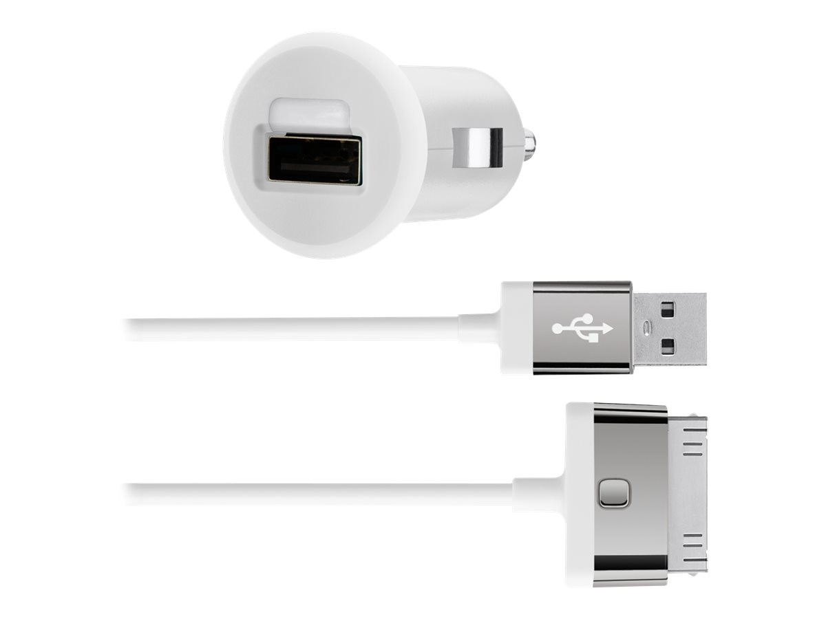 Belkin Car Charger, 30-Pin Charge Sync Cable, 10W 2.1A, White