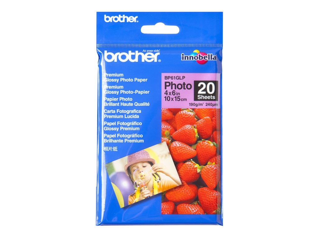Brother 4 x 6 High Gloss Inkjet Paper for MFC240C & DCP130C (20 Sheets), BP61GLP, 6954500, Paper, Labels & Other Print Media