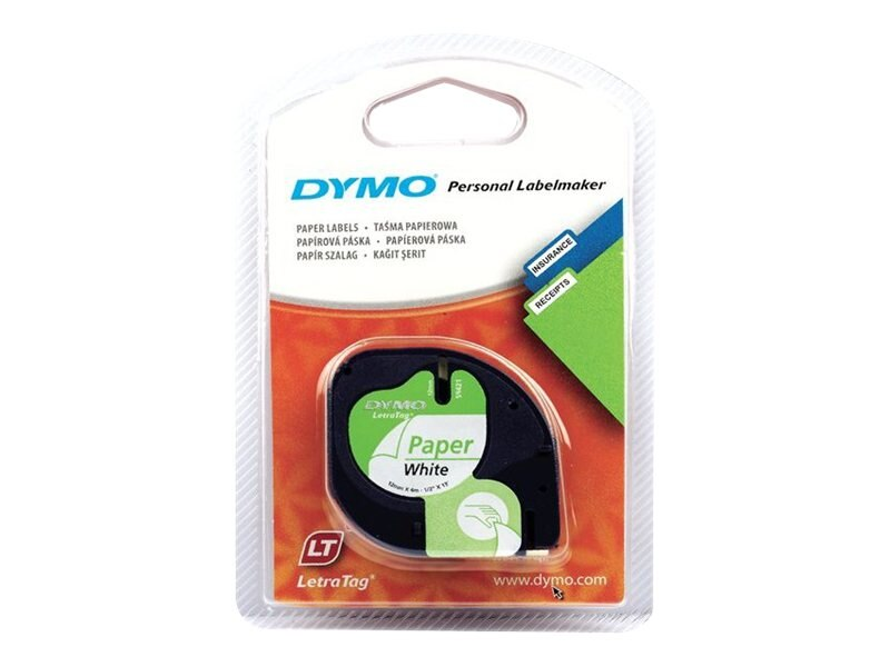DYMO 1 2 x 12' White Paper Tape - 2-pack for LetraTag, 10697, 344618, Paper, Labels & Other Print Media