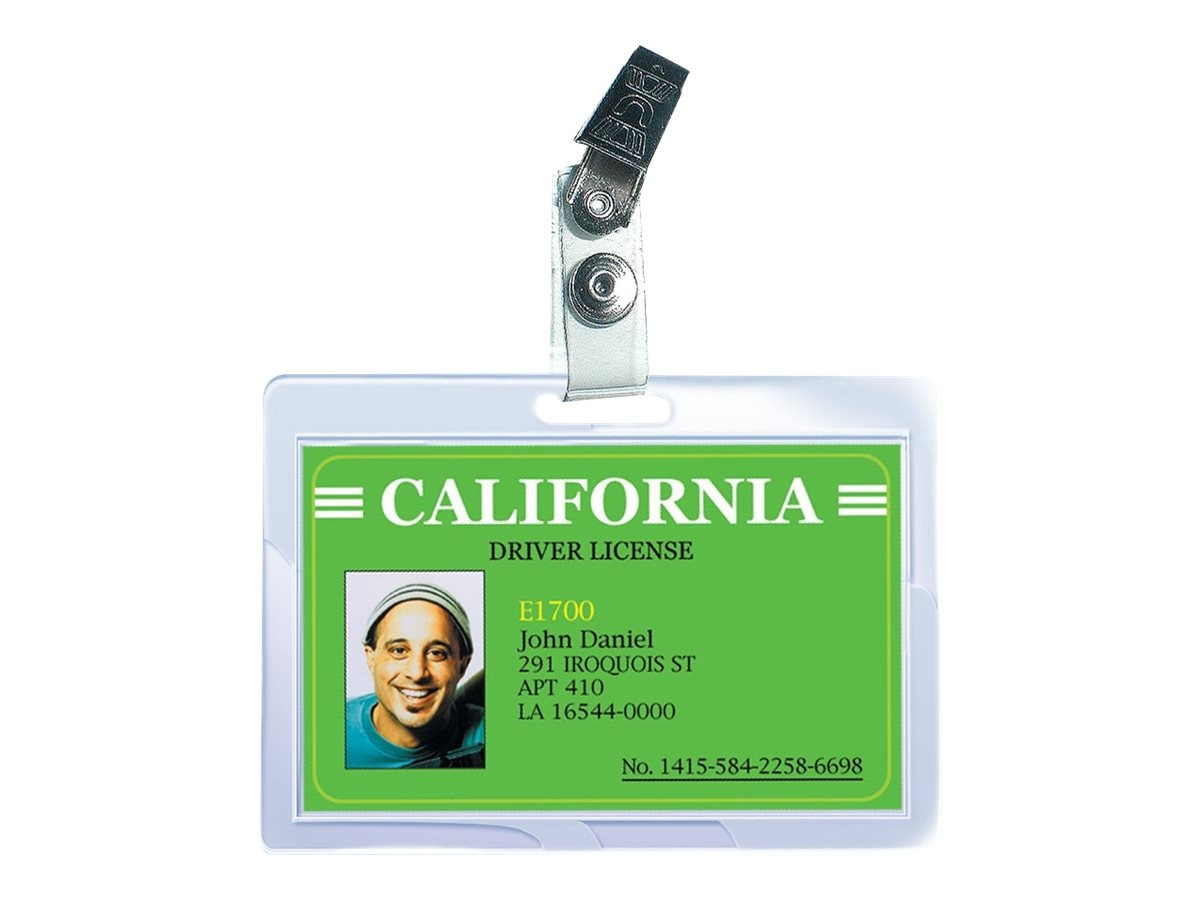 Royal Sovereign Heat Sealed Laminating Pouches 5 Mil ID Badge Size Punched with Clips Clear Gloss, 25-Pack