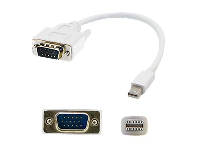 Add On Mini DisplayPort 1.1 to VGA M M Cable, White, 3ft, 5-Pack