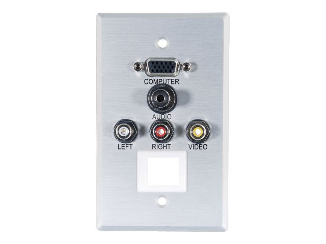 C2G Single Gang HD15, 3.5mm, Composite Video, Stereo Audio, Keystone Wall Plate, Aluminum