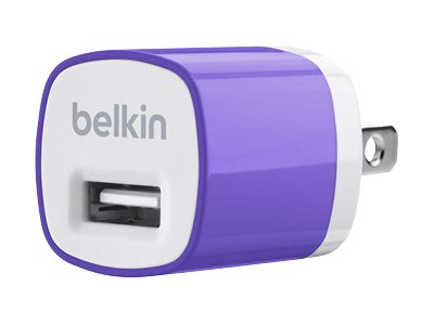 Belkin Mixit Up Home Charger 5 Watt 1 Amp, Purple, F8J017TTPUR, 15756281, Battery Chargers