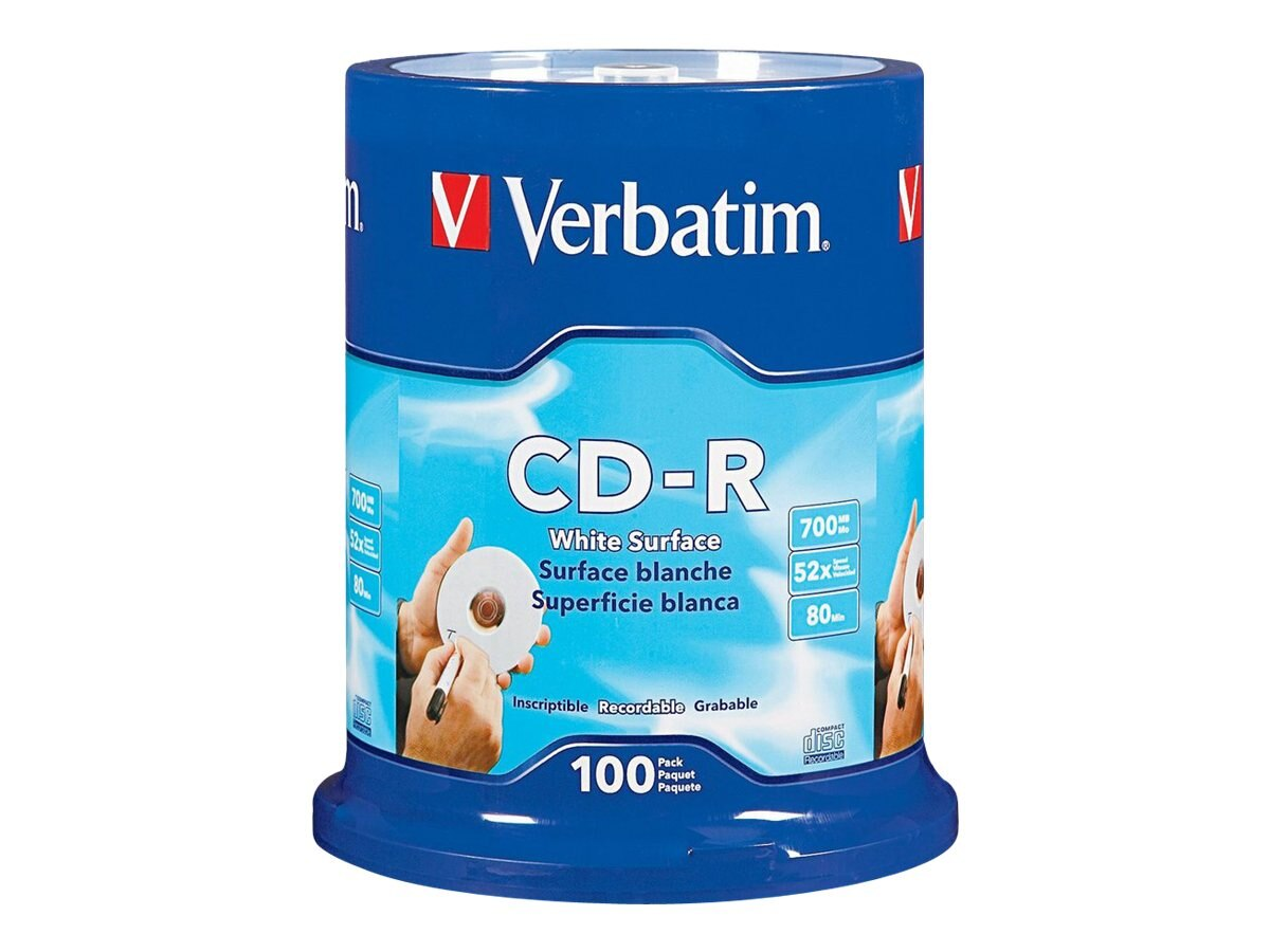 Verbatim 52x 700MB CD-R Black White Surface Media (100-pack Spindle)