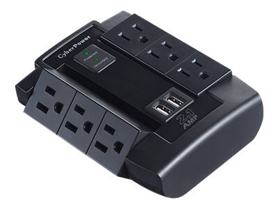 CyberPower Professional Series Home Office Surge Protector 1200 Joules (6) Outlets (2) USB 2.1A Ports Wallmount, CSP600WSU