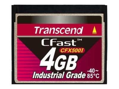 Transcend 4GB Industrial CFast Card, TS4GCFX500I, 20589879, Memory - Flash