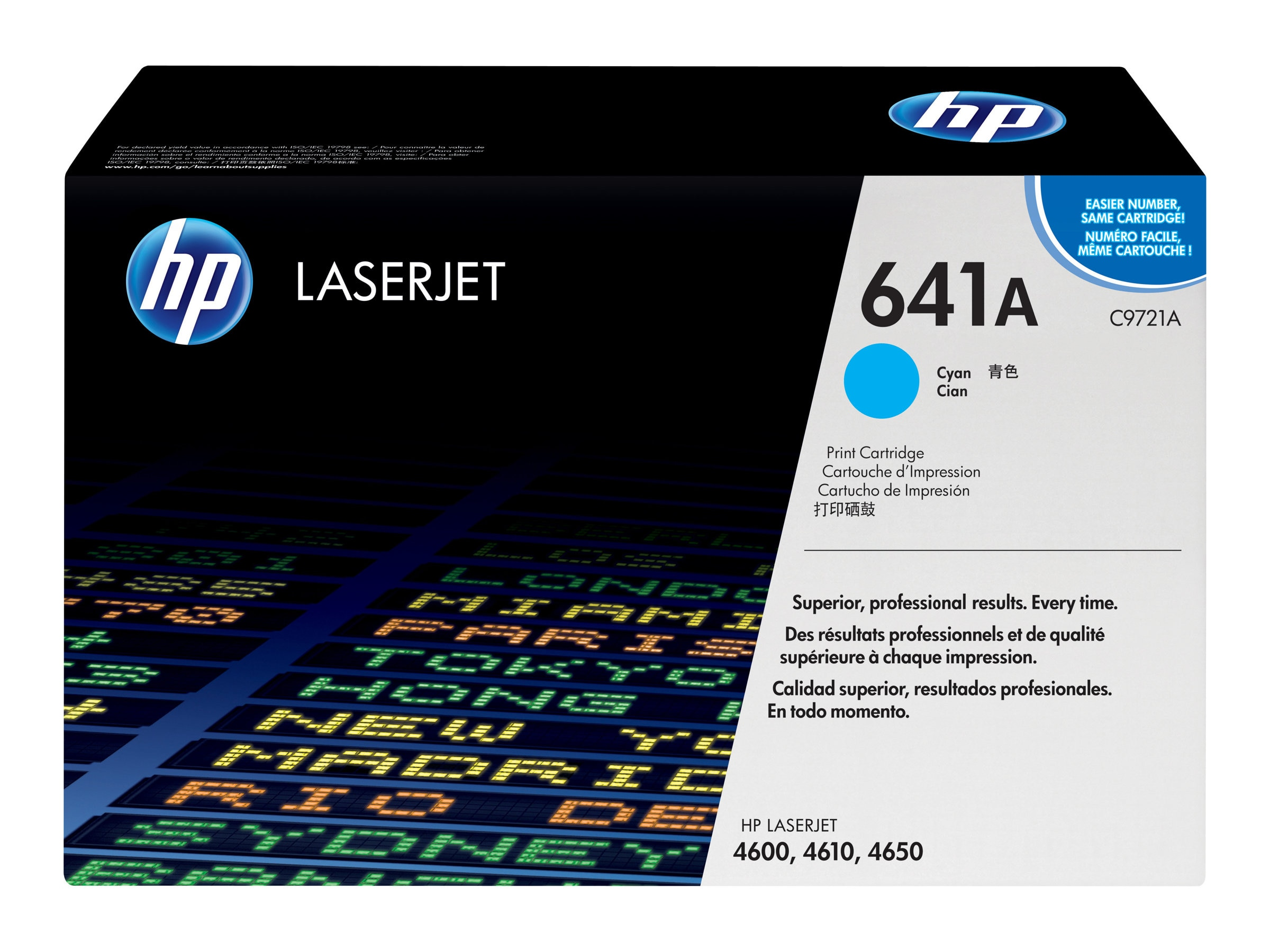 HP 641A (C9721A) Cyan Original LaserJet Toner Cartridge for HP LaserJet 4600 Series Printers