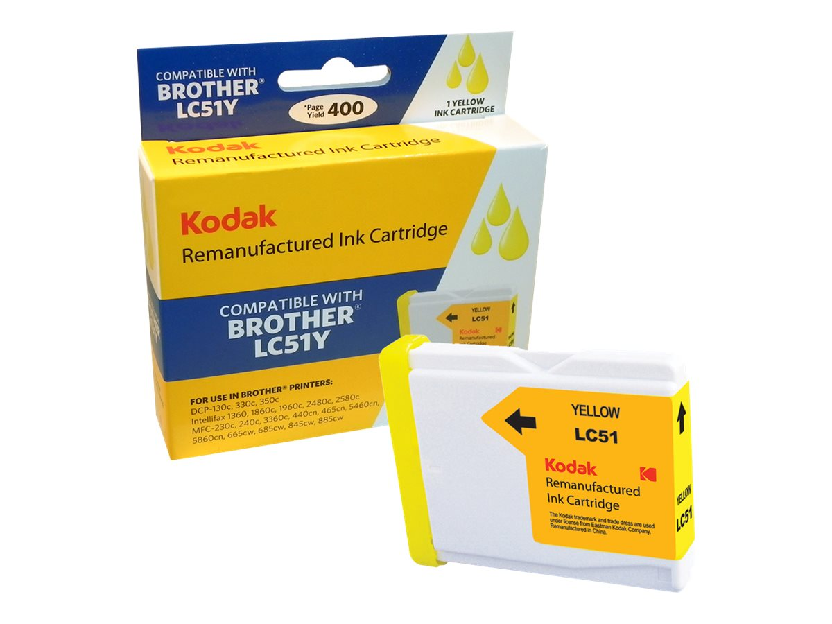 Kodak LC51Y Yellow Ink Cartridge for Brother DCP, LC51Y-KD, 31385450, Ink Cartridges & Ink Refill Kits