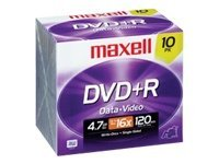 Maxell 16x 4.7GB DVD+R Media (10-pack), 639005, 9706747, DVD Media