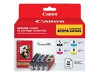 Canon PGI-5 CLI-8 Combo Pack w  PP-201 Glossy II Plus Paper, 0628B027, 11085732, Ink Cartridges & Ink Refill Kits