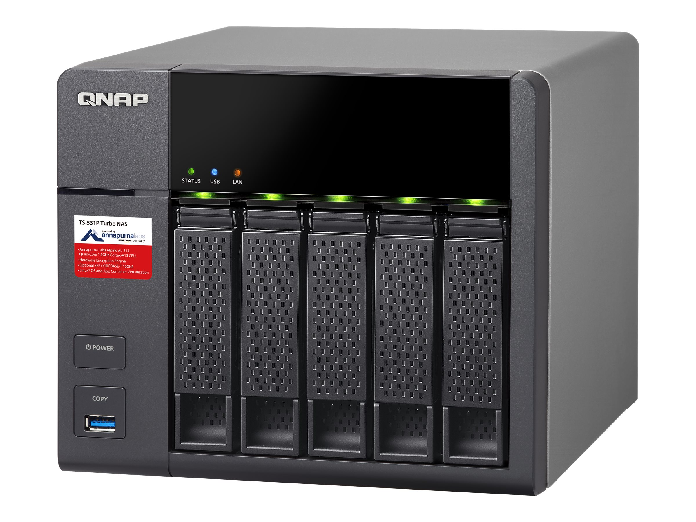 Qnap TS-531P ARMBased NAS w  Hardware Encryption - 8GB RAM