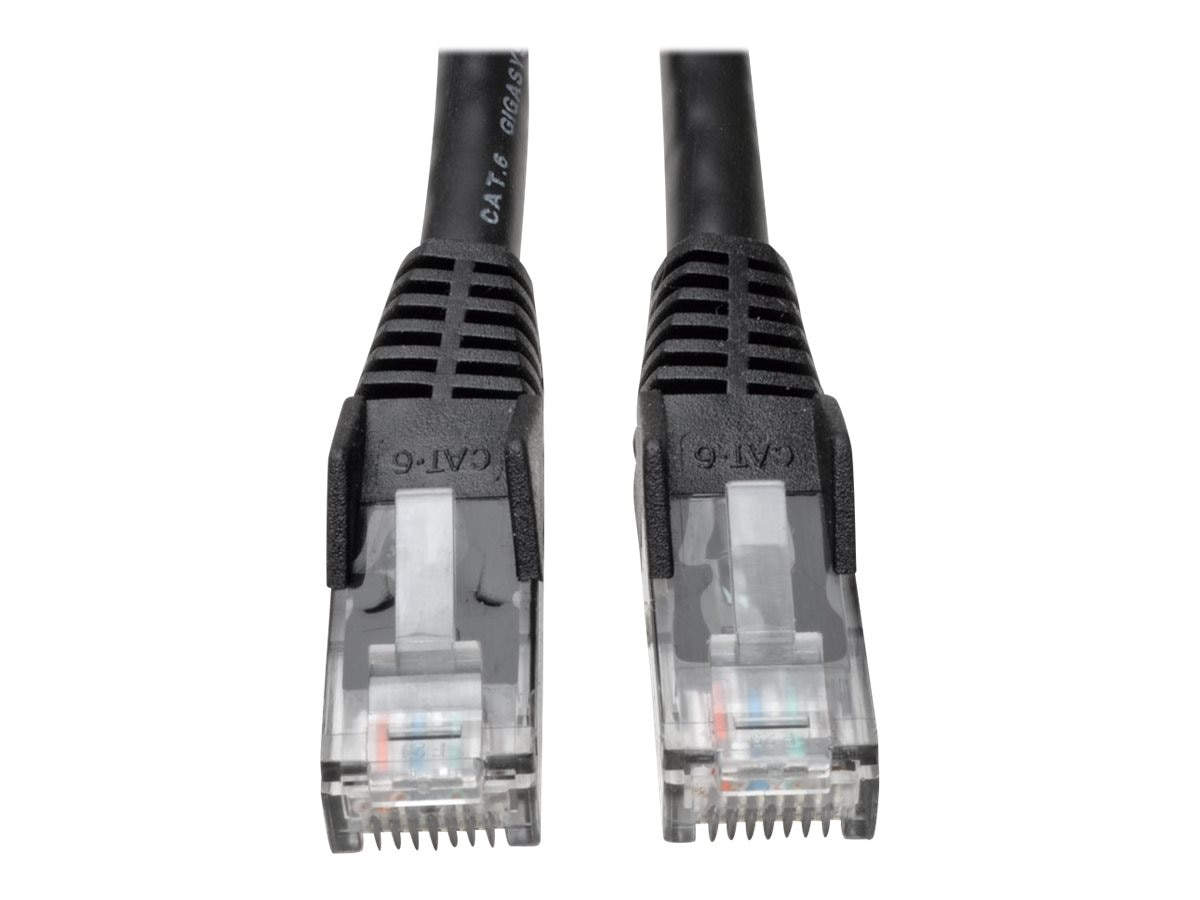 Tripp Lite Cat6 Gigabit Snagless Molded Patch Cable, Black, 2ft, 50-Pack, N201-002-BK50BP