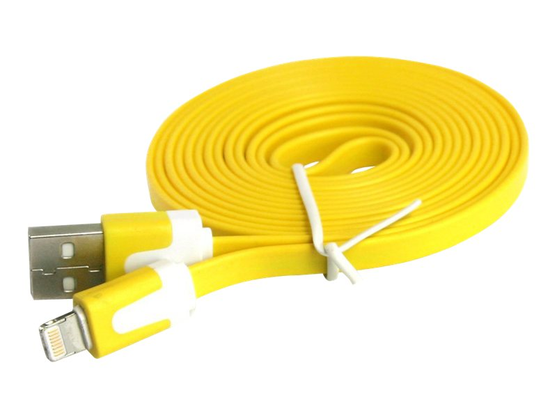 4Xem Lightning to USB 2.0 Type A M M Flat Cable, Yellow, 3ft, 4XI5CBLFLTYL