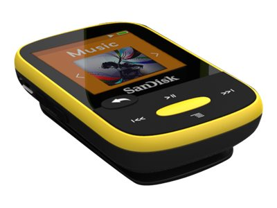 SanDisk 4GB Clip Sport MP3 Portable Audio Player - Yellow, SDMX24-004G-A46Y