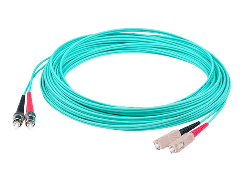 ACP-EP ST-SC OM3 Multimode LOMM Fiber Patch Cable, Aqua, 6m, ADD-ST-SC-6M5OM3