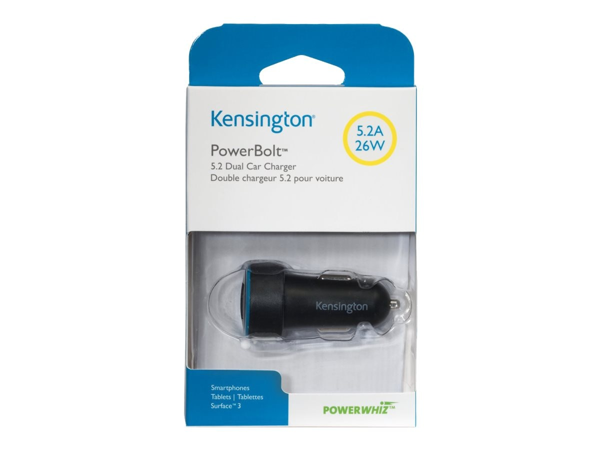 Kensington PowerBolt 5.2 Dual Car Charger w  PowerWhiz Technology, K38029WW