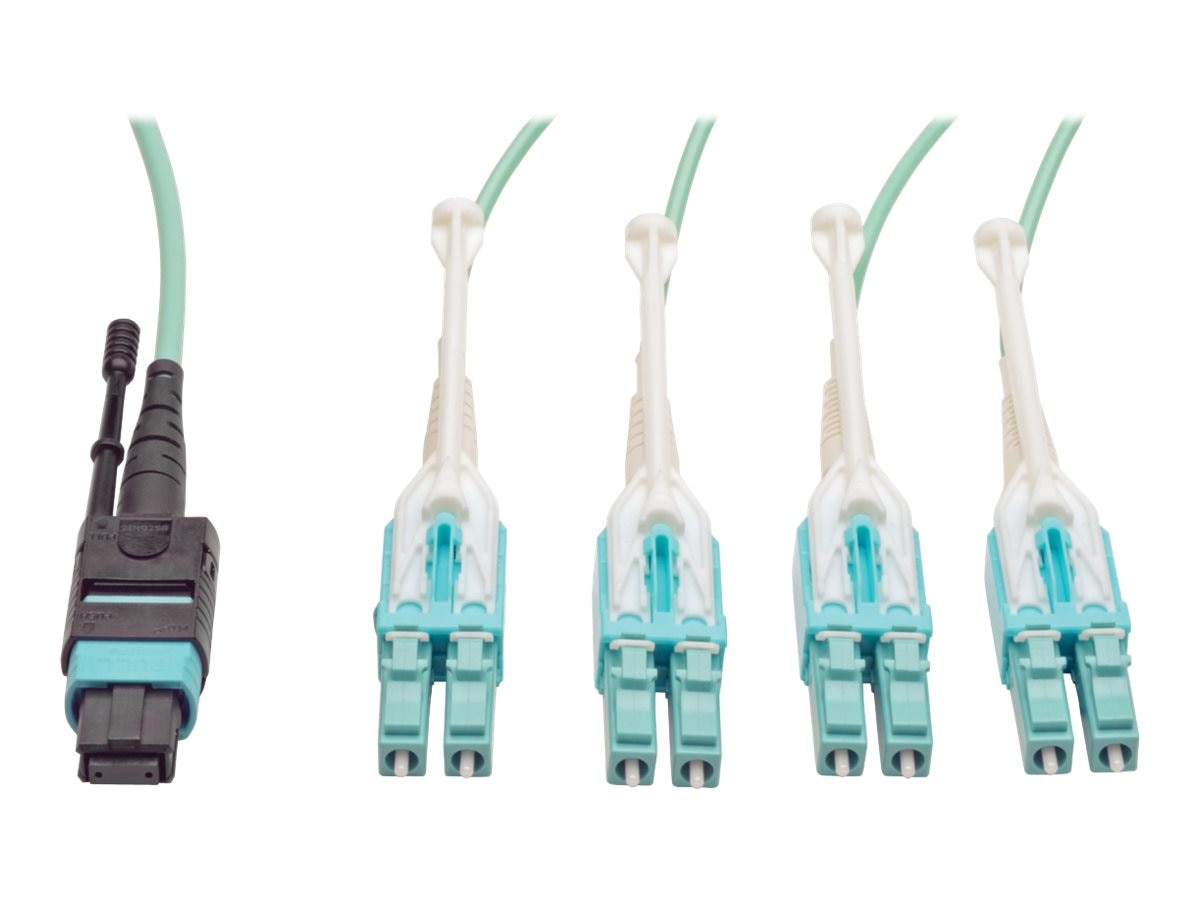 Tripp Lite MTP MPO to 8 x LC Fan-out Cable with Push Pull Tab Connectors, Aqua, 5m, N844-05M-8LC-PT, 18035914, Cables