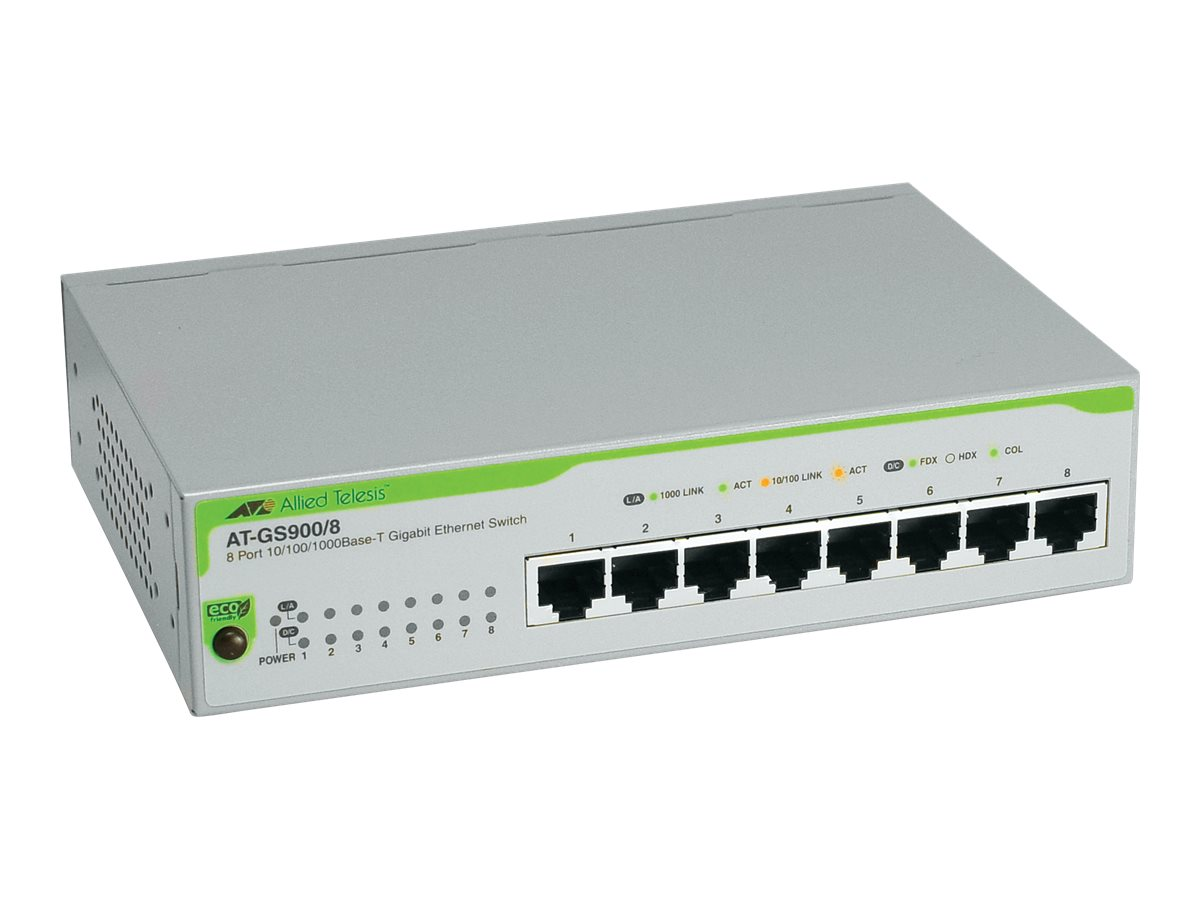 Allied Telesis 8-Port 10 100 1000BaseTX Gigabit Ethernet Unmanaged Switch with US Power Cord, AT-GS900/8-10, 5839956, Network Switches