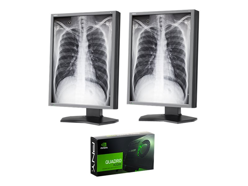 NEC (2) 21 MD212G3 3MP LED-LCD Medical Monitors with NVIDIA Quadro K2200 Graphics Card