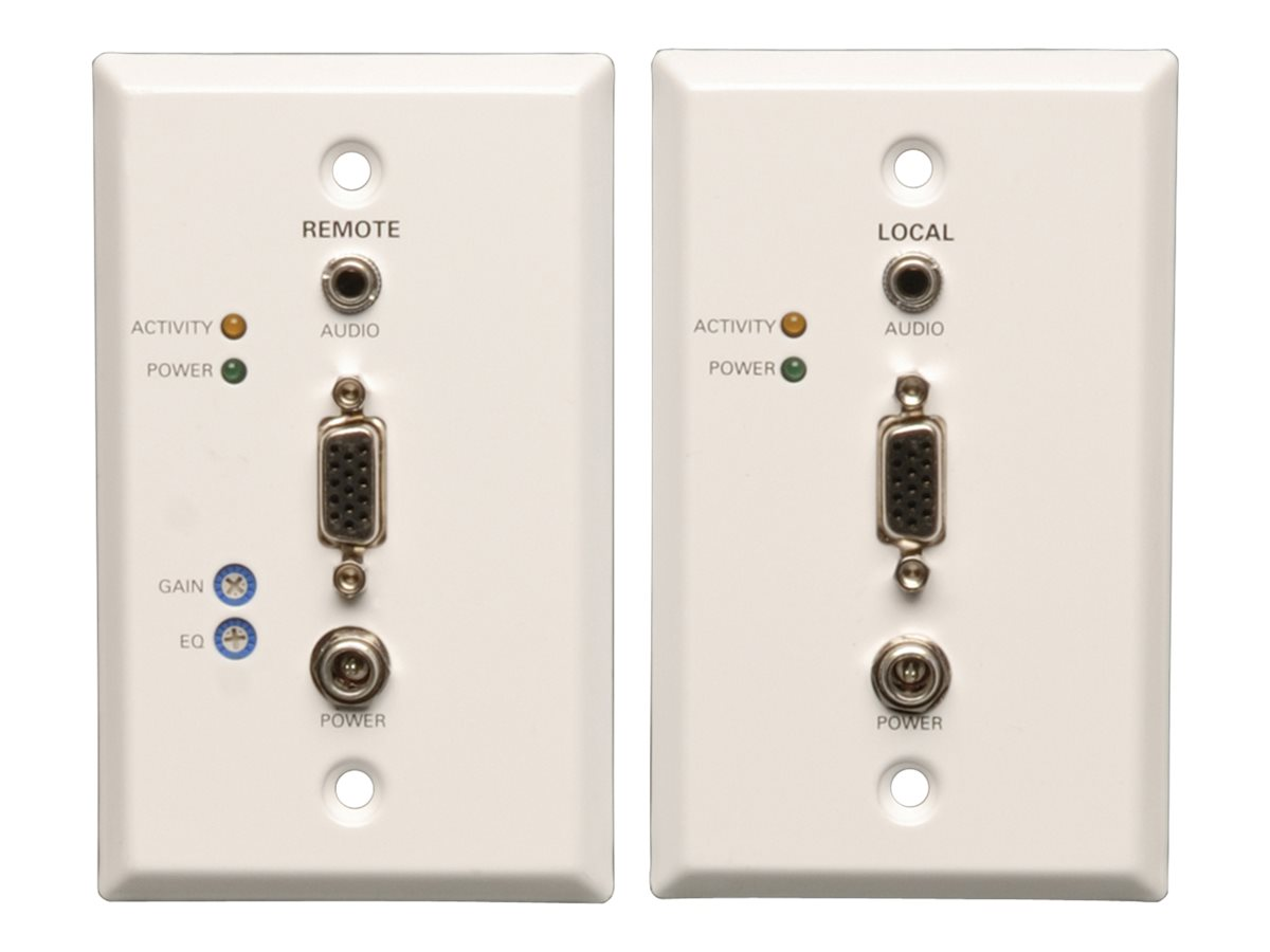 Tripp Lite VGA and Audio over Cat5 Cat6 Extender, Wallplate Kit, TAA, GSA, B130-101A-WP-1, 12530551, Premise Wiring Equipment