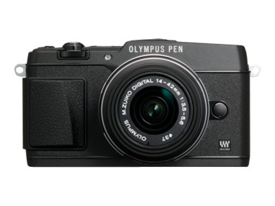 Olympus E-P5 PEN Mirrorless Digital Camera with 17mm f 1.8 Lens and VF-4 Viewfinder, Black, V204053BU000