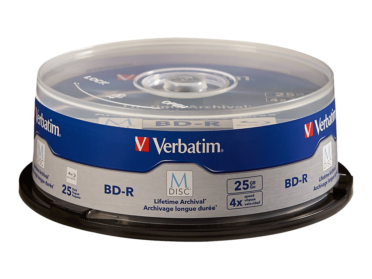 Verbatim M-Disc BD-R 25GB 4X with Branded Surface, 25-Pack