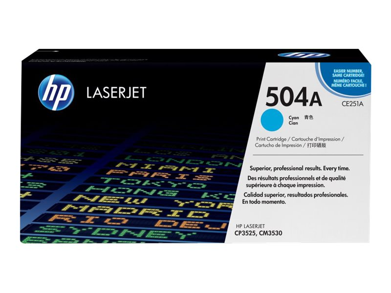 HP 504A (CE251AG) Cyan Original LaserJet Toner Cartridge for US Government (TAA Compliant), CE251AG, 11793712, Toner and Imaging Components
