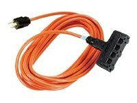 Black Box Indoor Outdoor Triple-Outlet Power Cord, 14 3 Grounded, Orange, 50ft.
