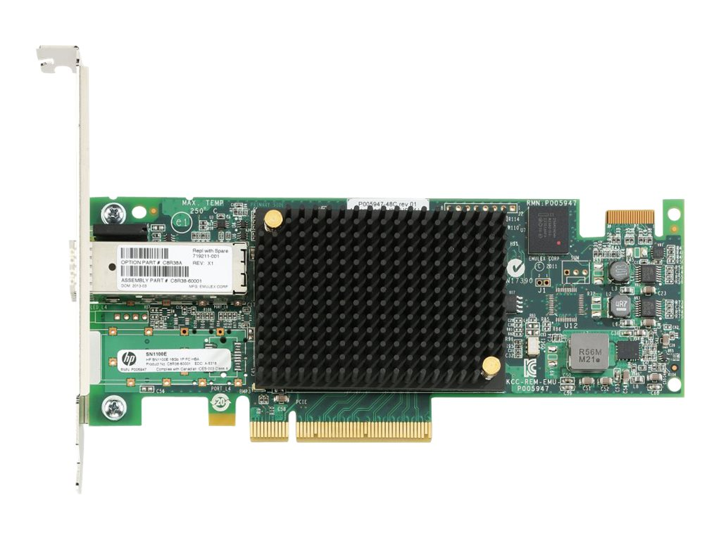 HPE StoreFabric SN1100E 16Gb Single Port Fibre Channel Host Bus Adapter, C8R38A, 16487802, Host Bus Adapters (HBAs)