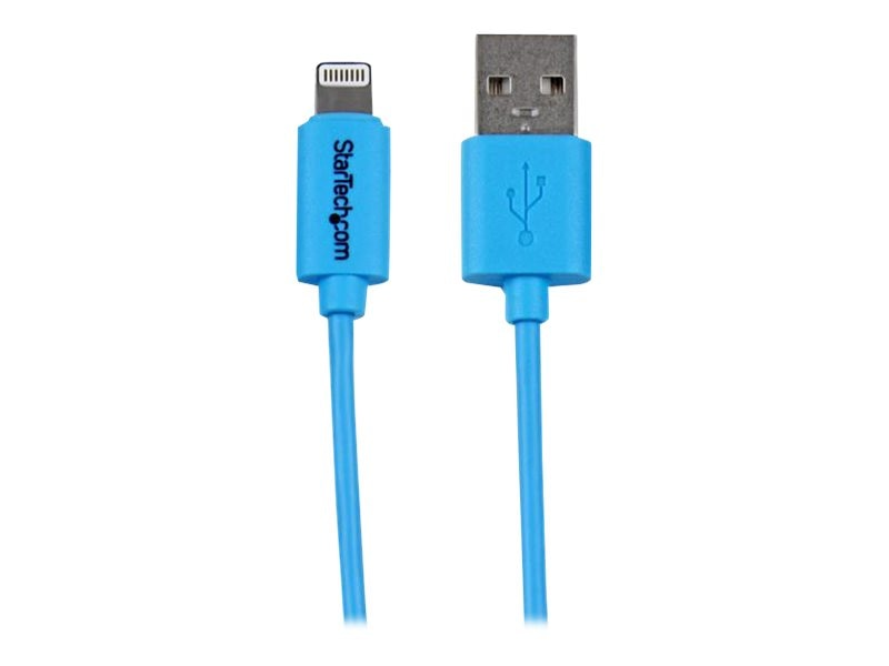StarTech.com Apple 8-pin Lightning Connector to USB Cable for iPhone iPod iPad, Blue, 1m, USBLT1MBL