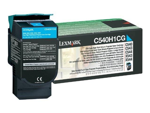 Lexmark Cyan High Yield Return Program Toner Cartridge for C540, C543 & C544 Printers & X543 & X544 MFPs, C540H1CG, 9163914, Toner and Imaging Components
