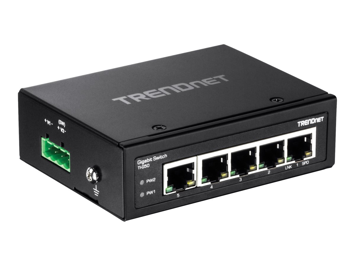 TRENDnet 5-Port Hardened Industrial Gigabit DIN-Rail Switch w 3Yrs Limited, TI-G50