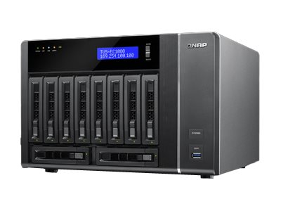 Qnap TVS-EC1080 10-Bay 6Gb 4LAN 10G Ready High Performance Edge Cloud TTurbo vNAS - 16GB Version, TVS-EC1080-E3-16G-US
