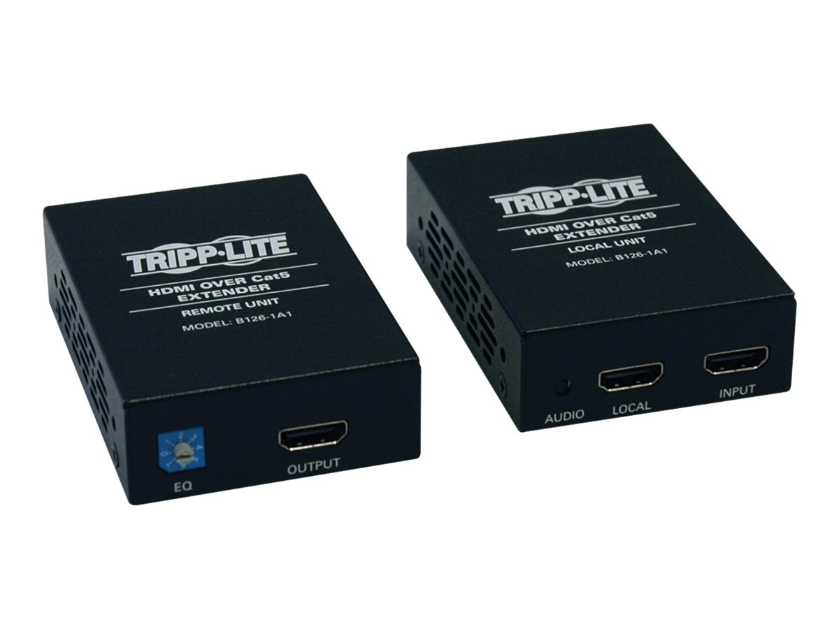 Tripp Lite HDMI over Cat5 Cat6 Extender, Transmitter and Receiver for Video and Audio, 1080p at 60Hz, B126-1A1, 12165013, Video Extenders & Splitters